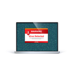 Laptop screen with alert message virus detected vector