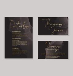 Luxury dark chocolate wedding invitation cards vector