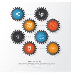 Machine icons set collection of mainframe vector
