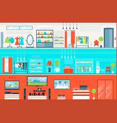 Mall interior set in flat style vector