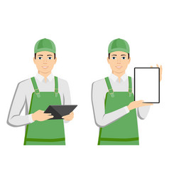 Man in uniform with a tablet computer vector