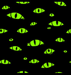 many monster eyes on black background seamless vector image