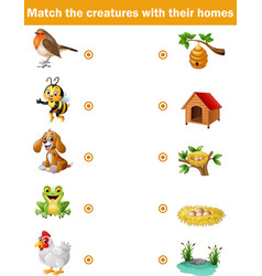 Matching game for children animals their home vector