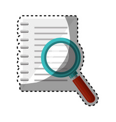notebook school with magnifying glass supply icon vector image
