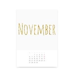 November 2017 Calendar Page vector image vector image