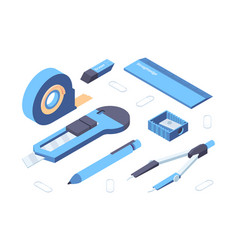 Office supplies isometric collection vector