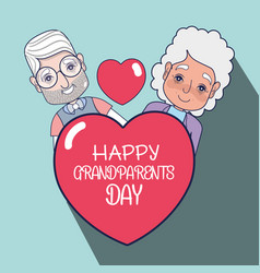 old people couple with heart with message vector image