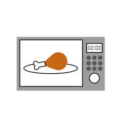 Oven microwave with delicious chicken meat icon vector