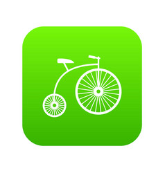 penny-farthing icon digital green vector image