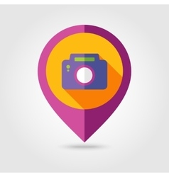 Photo Camera flat mapping pin icon vector