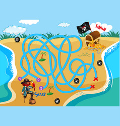 pirate beach maze puzzle game vector image