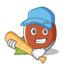 Playing baseball hazelnut character cartoon style vector