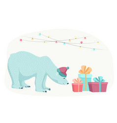 polar bear new year christmas gifts presents boxes vector image