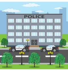 Police cars near police building vector image