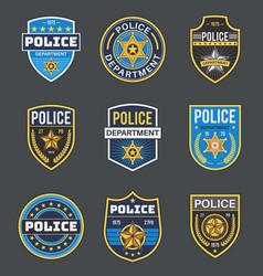 police labels policeman law enforcement badges vector image