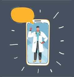 Professional doctor on smartphone speech bubble vector