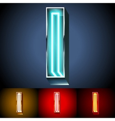 Realistic neon tube alphabet for light board vector