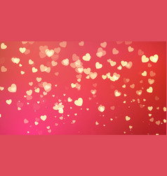 red background with golden heart confetti vector image
