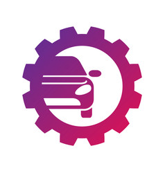 Repair car logo silhouette car gear and wrench vector
