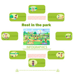 Rest in park poster with activities infographics vector