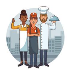 restaurant team cartoon vector image