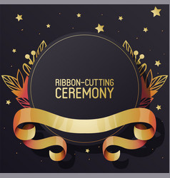 Ribbon-cutting ceremony advertisement banner vector