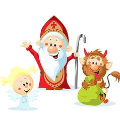 Saint Nicholas devil and angel - isolated o vector