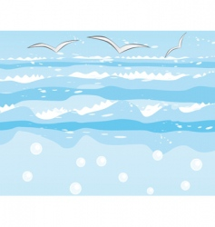 Seagulls over the sea waves vector