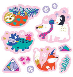 set cartoon christmas animals patches emblems vector image