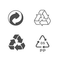 Set icons recycling or reuse vector