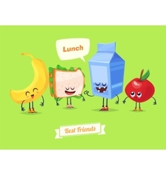 set lunch characters cute cartoons vector image