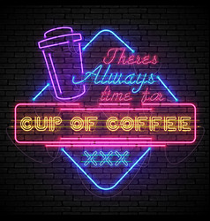 shining and glowing neon coffee sign in color vector image