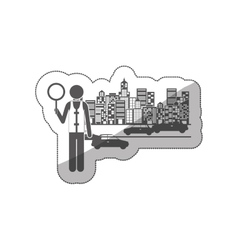 Silhouette sticker traffic guard in city with cars vector
