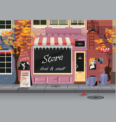 Small shop on the old city street autumn vector