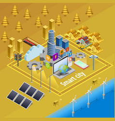 Smart city internet infrastructure isometric vector
