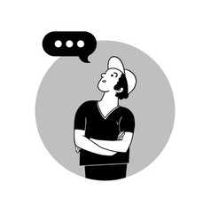 Speaking man with speech bubble image vector