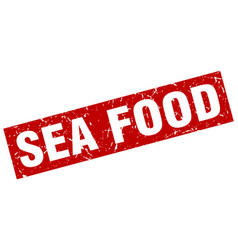 Square grunge red sea food stamp vector