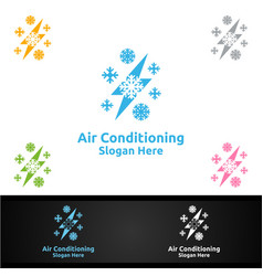 Thunder snow air conditioning and heating vector