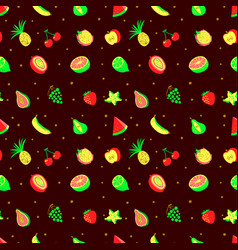 Tropical exotic fruits seamless pattern cute vector