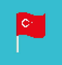turkey pixel flag pixelated banner turkish vector image