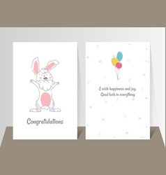 two banners with funny cute bunny hand drawn vector image
