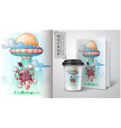 Ufo bull - poster and merchandising vector
