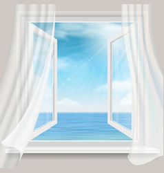 view through a window with curtains to sea vector image