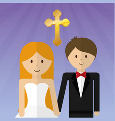 Wedding couple lovely invitation vector