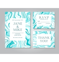 Wedding invitation card suite with blue vector