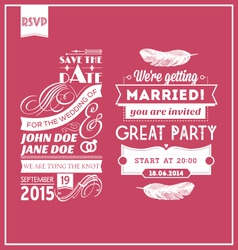 Wedding stamps pink vector image