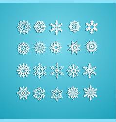 White snowflakes icon on blue background vector