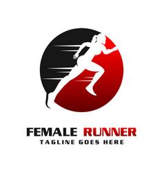 womens runner logo vector image