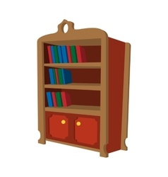 Wooden bookcase cartoon icon vector image