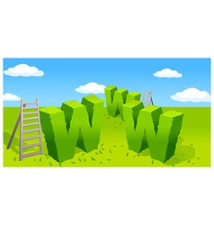 Www symbol and ladder on green landscape vector image
